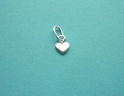 925 SOLID STERLING SILVER MINI FLAT HEART CHARM /  5x4mm