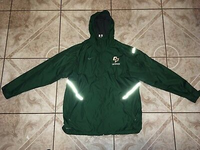 Men's Nike Storm-Fit Hooded Jacket Size L Large Green Polyester Full-Zip EUC