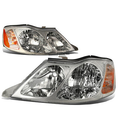 Fit 2000-2004 Toyota Avalon Pair Chrome Housing Amber Corner Headlight/Lamp Set