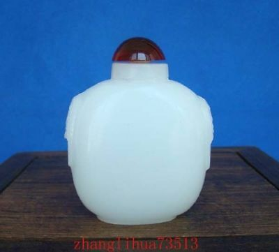 Collectible Handmade Carving White Jade Snuff Bottles