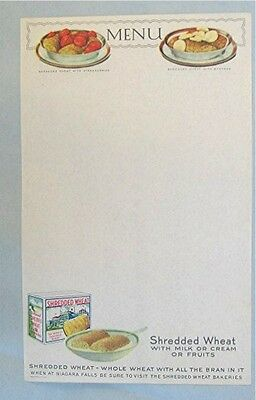 2 Early Shredded Wheat Blank Menu Sheets