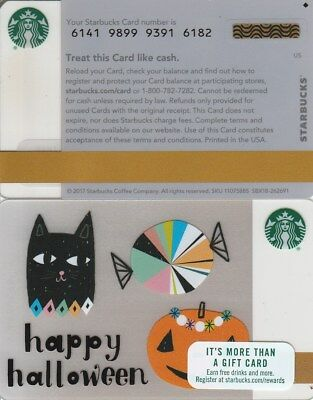 2017 Original Starbucks Mint Gift Card ~Happy Halloween~ No Value Pin# Covered