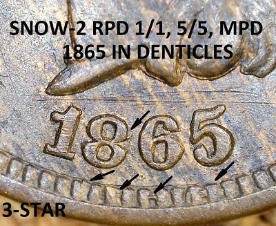 1865 Indian Head Cent - EXTRA FINE RPD & MPD, SNOW-2 TOP RPD  (G822)