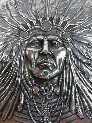 Unger Brothers Large Sterling Silver Indian Chief Liquor Flask, c1905
