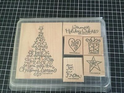 Stampin Up! - Stamp Set of 6 - HOLIDAY WISHES   - wood mount