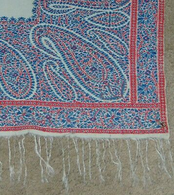 ANTIQUE PAISLEY SHAWL Tablecloth RARE WHITE CENTER