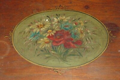 ANTIQUE LADIES Lap Desk HAND PAINTED FLOWERS Wood GREAT FOR FOUNTAIN PEN STORAGE