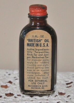 "Rare  McCormick & Co.Baltimore,Md.""British"" Oil Linament Bottle and contents"