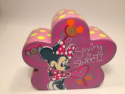 Minnie Mouse Piggy Bank Penny Coin Saving is Sweet Disney World Theme Parks NEW
