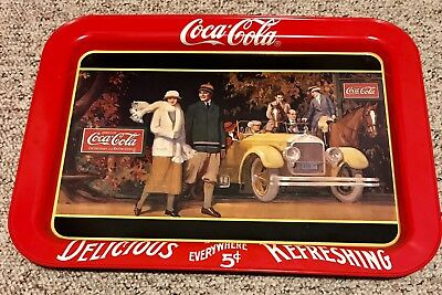 """Coca Cola """"Touring Car"""" Serving Tray 1987 Repro Beautiful Details!"""