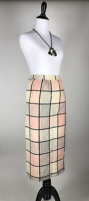 Fab! VTG 50s 60s Pink & Grey Plaid Wool Pencil Wiggle Skirt XS S