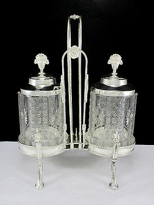 Antique 19thC Victorian Silver Plate Double Pickle Castor Set by Rogers & Smith