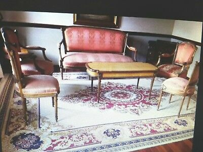 Louis XVI Styled Gilded Upholstered Sofa & 2 Arm Chairs - 2 Side Chairs
