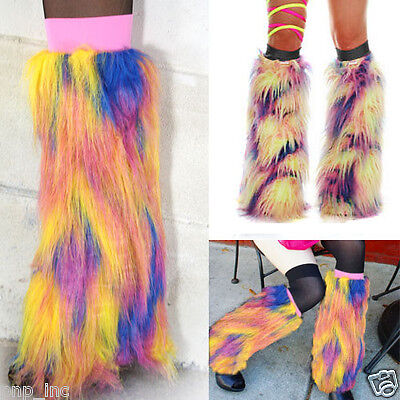 Long Bright Yellow Furry Fluffy Fuzzy Leg Warmer Boot Cover Cuff Rave Faux Fur