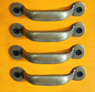LOT OF 4 PCS Antique Vintage SOLID BRASS Simple RETRO Pull KNOB DRAWER Handle
