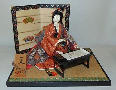 VINTAGE JAPANESE Doll GEISHA WRITING ON SCROLL Gofun GLASS EYES Artist Signed