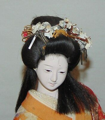 VINTAGE JAPANESE Doll LONG HAIR Gofun GLASS EYES Gorgeous Kimono