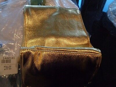 Pottery Barn Teen The Emily & Meritt Gold Faux Leather Sack Lunch Bag