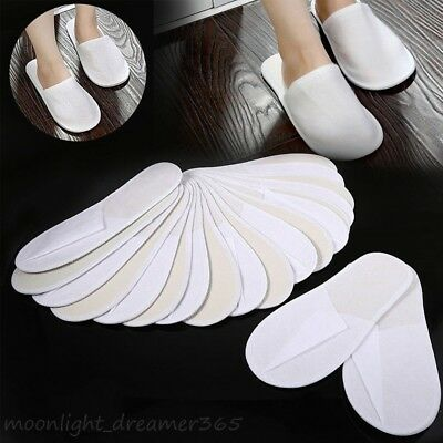 1Pair Disposable Portable Towelling Closed Toe Hotel Guest Slippers Spa Shoes