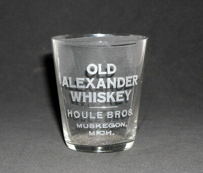 OLD ALEXANDER -- MUSKEGON, MICH. Pre Prohibition Advertising Whiskey Shot Glass