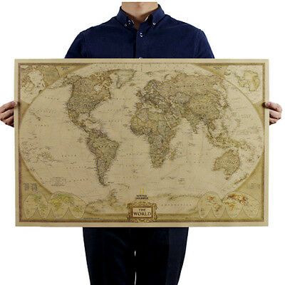 2017 Vintage Retro World Map Antique Paper Poster Wall Chart Home Decoration
