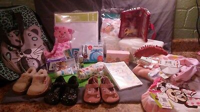 lot of baby toddler items never used crib cover diaper bag clothes shoes cute