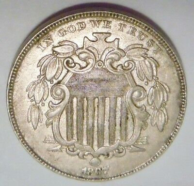 1867 W/O Rays Shield Nickel, AU, Buy It Now!