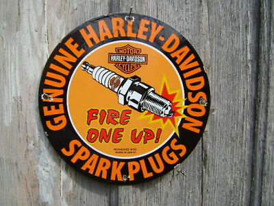 Harley Davidson Fire One Up Spark Plugs porcelain sign Milwaukee Wis,OLD HARLEY