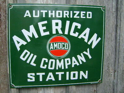 AMOCO DEALER REAL porcelain,AMERICAN OIL COMPANY,GAS,OIL,AMOCO,BIG HEAVY SIGN