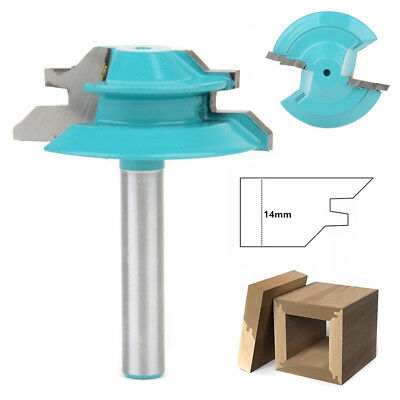 "Wood Cutter Tools 45 Degree Lock Miter Router Bit 1/4"" Shank 1-1/2"" Diameter"
