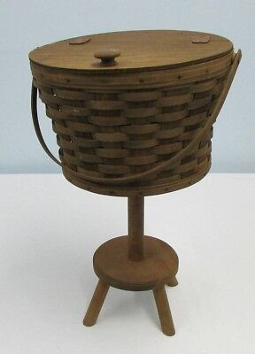 Longaberger Round Sewing Basket With Stand 1984