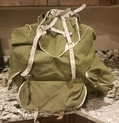 Vintage Swiss Army Backpack Canvas Green Leather Straps Metal Frame Back Pack