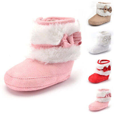 New Toddler Newborn Baby Girl Soft Sole Warm Snow Booties Boots Crib Shoes 0-18M