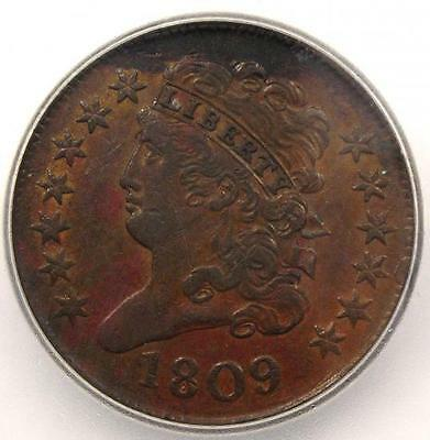 1809 Classic Head Half Cent - ICG AU55 - Rare Early Date Coin