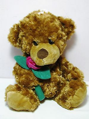 Chenille Swirled Soft Plush Valentines Teddy Bear w Rose