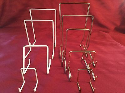 JES Co England White Nylon Coated or Brassed Display Stands Diff Sizes