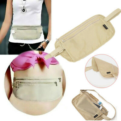 Sports Travel Hidden Compact Security Flat Body Money Waist Belt Pouch Bum Bag