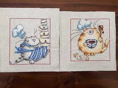 Margaret Sherry Completed Cross Stitch Cats Cooking x 2, & Mice with Holly