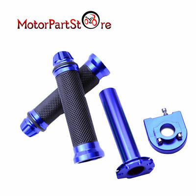 "Motorcycle Dirt Bike Scooter 7/8"" CNC Hand Grips Throttle Twist Tube Blue"