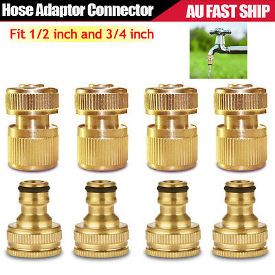 """4 SET Brass Garden Lawn Water Hose Pipe fitting 1/2"""" 3/4"""" Adaptor Connector Tap"""