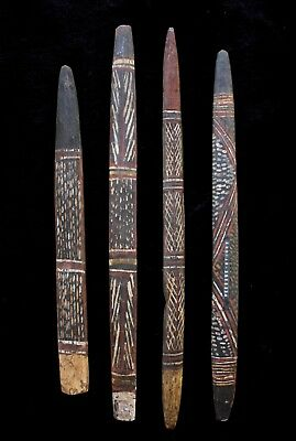 Group of Four Early Aboriginal Wooden Message Sticks - Groote Eyelandt 1950's