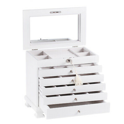 White High Gloss Wooden Jewellery Box Earrings Rings Display Organizer 3 Drawers