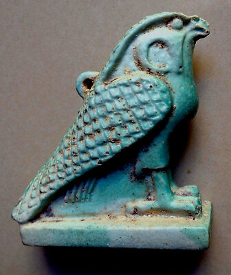 Large Original Late Period Egyptian Turquoise Faience Falcon Horus Amulet