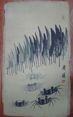 "Large Rare Old Chinese Hand Painting Crabs ""QiBaiShi"" Marks"