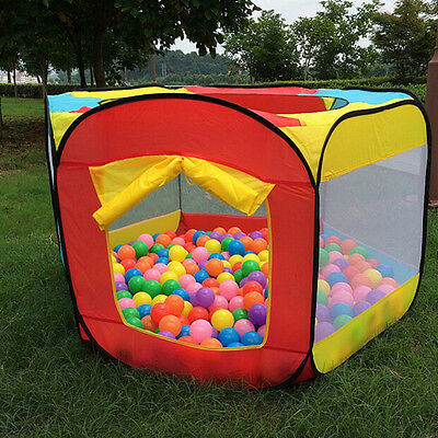 Kids Play House Indoor Outdoor Easy Folding Ball Pit Hideaway Tent Play Hut AL