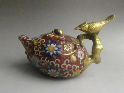 China Royal Bronze Copper Cloisonne Bird Lucky Flower Wine Tea Pot Flagon Red