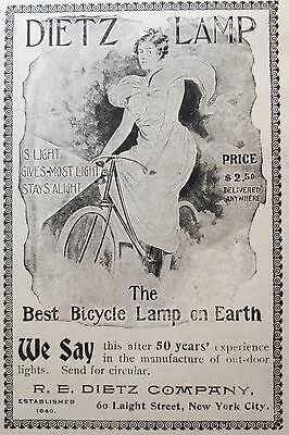"""1898 Ad(1800-18)~R.e. Dietz Co. Nyc. """"the Best Bicycle Lamp On Earth"""""""