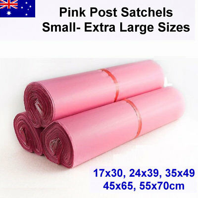 Pink Post Satchels 25/50/100pcs Small-Extra Large Sizes 65mm Courier Plastic Bag