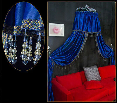 Queen Size Blue Ceiling Mosquito Net Bedding Bed Curtain Netting Canopy *