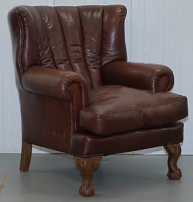 Rrp £1979 Vintage Distressed Tetrad Blake Armchair Brown Leather Chesterfield